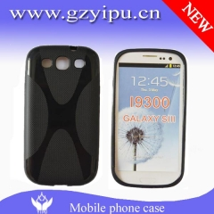 Mobile phone silicon jelly TPU X line solid black waterproof case for Samsung Galaxy S3 i9300