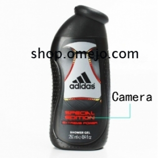 omejo 720P Bathroom Spy Camera DVR 32GB Adidas Men Shower Gel Camera with Motion Detection Remote Co