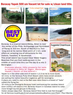 Philippines-Boracay Yapak 500sm vacant lot for sale with clean land title.