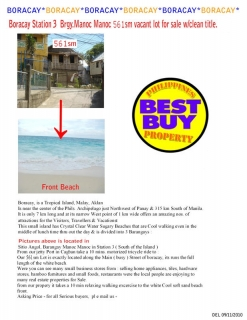 Philippines-Boracay 561sm vacant lot for sale with clean title.