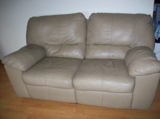 Full size leather burg. couch / reclining loveseat leather beige