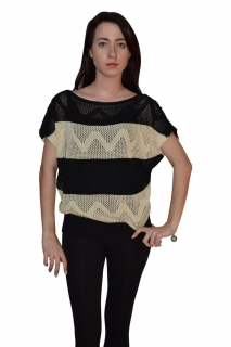 Two-Colored Modified Scoop Neck Sweater With Short Sleeve
