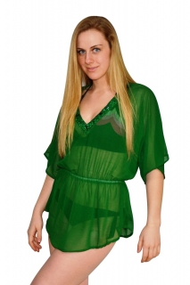 Green Diamond Swim Cover-Up with Jewel Embellishment