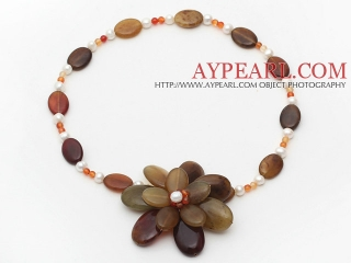 Freshwater Pearl and Three Colored Jade Flower Necklace