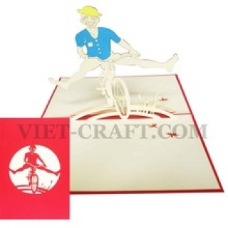 Boy and Bicycle 3D popup card