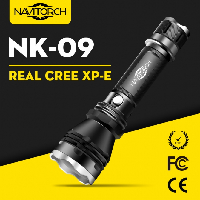 CREE XP-E LED Waterproof Rechargeable Aluminum LED Flashlight NK-09