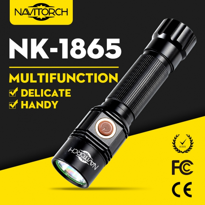 Long Run Time Handheld Impact Resistant LED TorchAluminium Flashlight NK-1865