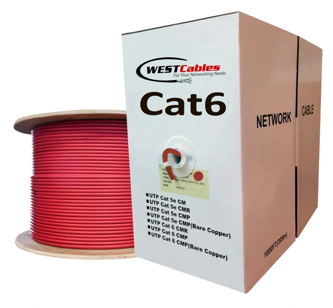 1000FT Cat6 plenum CMP UTP networking cable