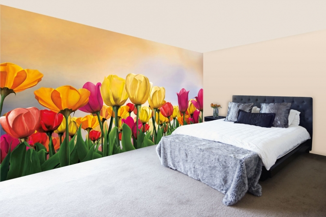 Floral Wallpaper Designs For Livingroom And Bedroom Using Easily Removable Wallpaper. Walls And Murals
