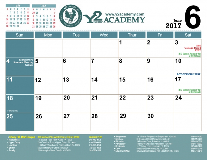 JUNE 2017 OFFICIAL SAT ACT TEST SCHEDULE BY Y2 ACADEMY