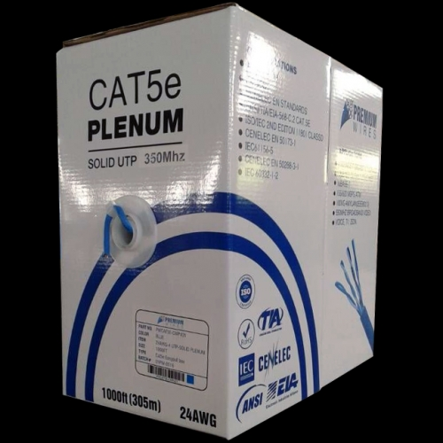 1000ft Cat5E Plenum Ethernet Networking Cable 24Awg UTP 350Mhz White