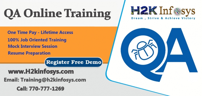 QA Online Training on Live-projects  free real time experience by H2k infosys.