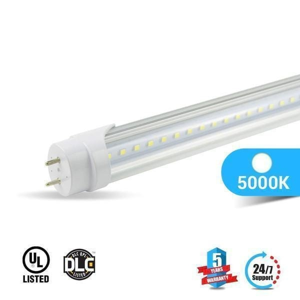 Indoor T8 4ft 22W LED Tube 3000 Lumens 5000K Clear Single Ended Power