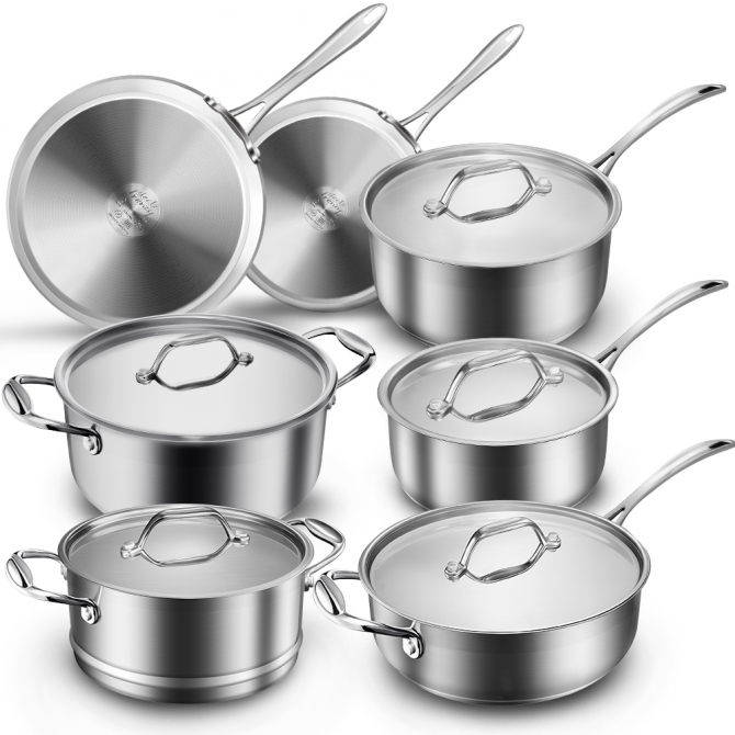 Tri-ply Impact-bonded Stainless Steel 12 Piece Cookware Set With $20 Amazon Coupon