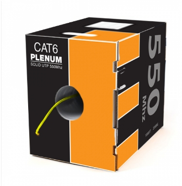 Cat6 Plenum 1000FT Solid Network 550MHZ Cable Yellow